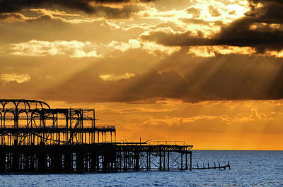 The West Pier In Brighton At Sunset Art Print