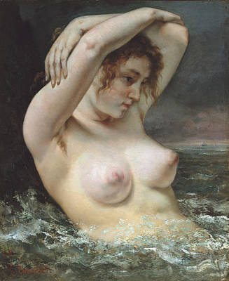 Painting - The Woman In The Waves by Gustave Courbet