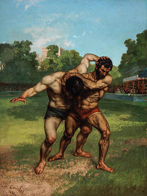 Courbet Painting - The Wrestlers by Gustave Courbet