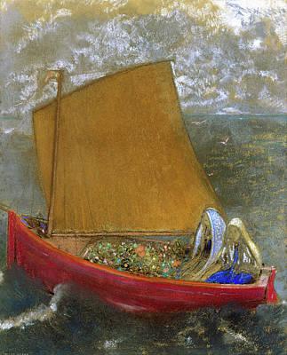Animal Symbolism Painting - The Yellow Sail by Odilon Redon