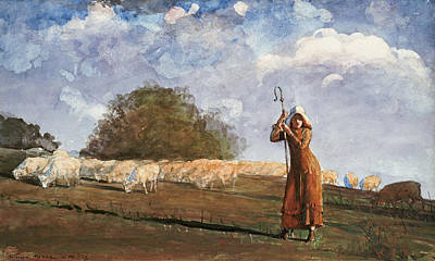 The Young Shepherdess Painting - The Young Shepherdess by Winslow Homer