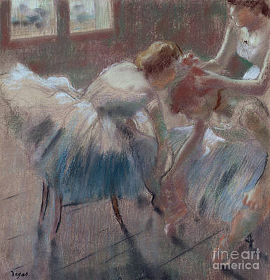 Pastel - Three Dancers Preparing For Class by Edgar Degas