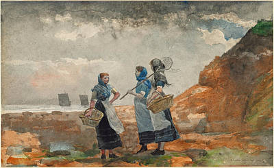 Winslow Homer Drawing - Three Fisher Girls. Tynemouth by Winslow Homer