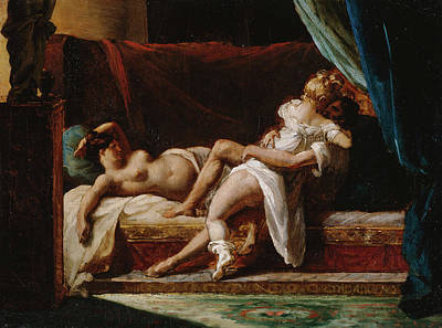 Bed Painting - Three Lovers by Theodore Gericault