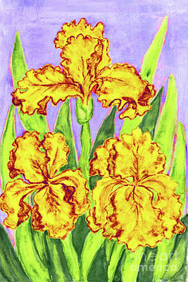 Painting - Three Yellow Irises, Painting by Irina Afonskaya