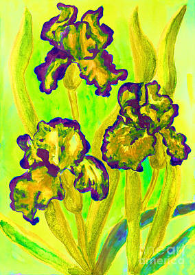 Painting - Three Yellow Irises, Watercolor by Irina Afonskaya