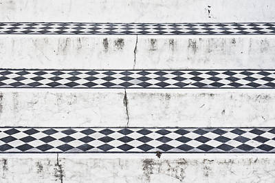 Chequered Photograph - Tiled Steps by Tom Gowanlock