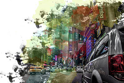 Traffic Light Photograph - Times Square by Martin Newman