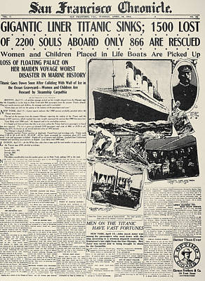 Photograph - Titanic Headline, 1912 by Granger