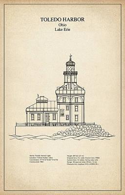 Beach Digital Art - Toledo Harbor Lighthouse - Ohio - Blueprint Drawing by Jose Elias - Sofia Pereira