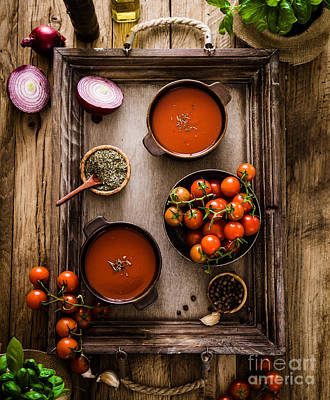 Stewed Tomatoes Photograph - Tomato Soup On Wood by Mythja Photography