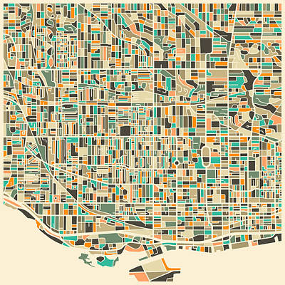 Modern Art Digital Art - Toronto Map by Jazzberry Blue