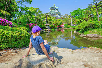Photograph - Tourist At Osaka Castle by Benny Marty