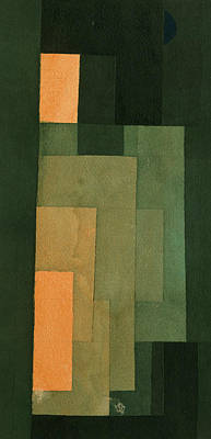 Drawing - Tower In Orange And Green by Paul Klee