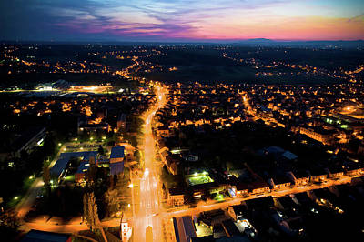 Photograph - Town Of Krizevci Aerial Panoramic Night View by Brch Photography