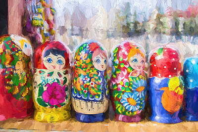 Photograph - Row Of Soviet Russian Puzzle Dolls by John Williams