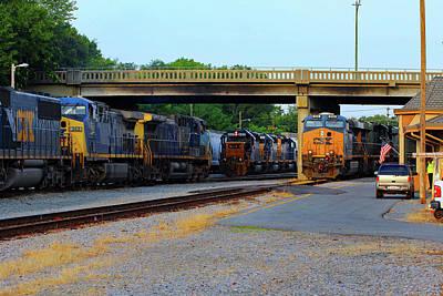 3 Train Meet In Monroe Art Print by Joseph C Hinson Photography