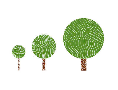 Icon Drawing - 3 Trees by Frank Tschakert