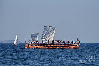 Photograph - Trireme Olympias Sailing With Open Sails by George Atsametakis