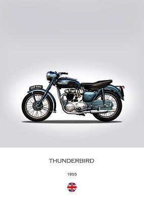 Cycle Photograph - Triumph Thunderbird 1955 by Mark Rogan