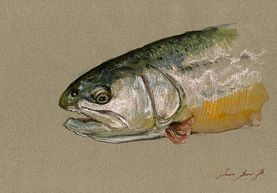 Rainbow Trout Painting - Trout Watercolor Painting by Juan  Bosco