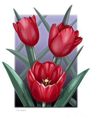 Blooming Digital Art - 3 Tulips by David Azzarello