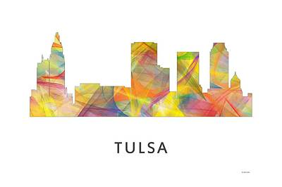 Tulsa Oklahoma Skyline Art Print by Marlene Watson