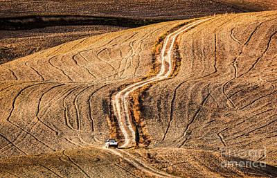 Soil Photograph - Tuscany Fields Autumn Landscape, Italy. Harvest Season by Michal Bednarek