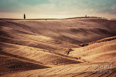 Soil Photograph - Tuscany Fields Autumn Landscape, Panorama, Italy. Harvest Season by Michal Bednarek