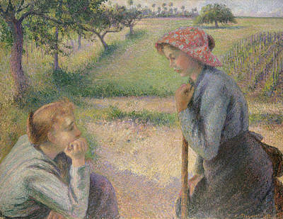 Two Young Peasant Women Art Print by Camille Pissarro