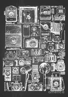 Vintage Camera Drawing - Types Of Photo Cameras by Alexander Babich