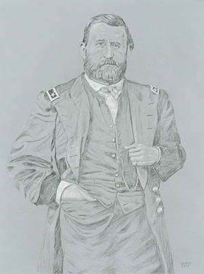General Grant Drawing - U. S. Grant by Dennis Larson