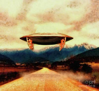 Monster Ufo Wall Art - Painting - Ufo Over Highway by Raphael Terra