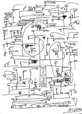 Abstract Forms Drawing - Untitled by Aboud Fares