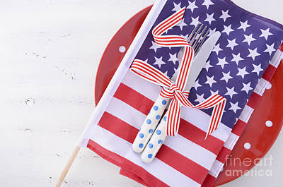 Usa Party Table Place Setting With Flag On White Wood Table.  Print by Milleflore Images