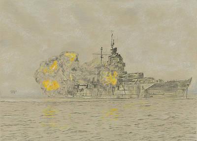 Iwo Jima Drawing - Uss Idaho by Dennis Larson