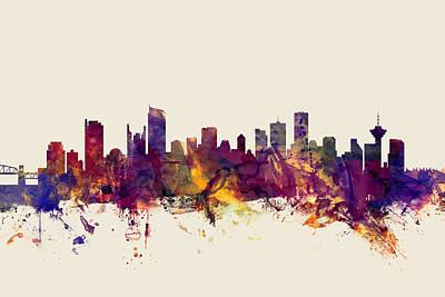 Vancouver Digital Art - Vancouver Canada Skyline by Michael Tompsett