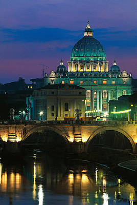 Vatican City Photograph - Vatican Skyline  View Of St Peters Basilica In The Evening by Italian School