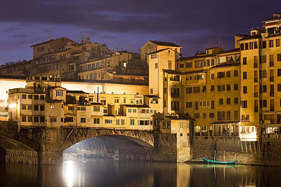 Vecchio Bridge At Night Art Print by Andre Goncalves