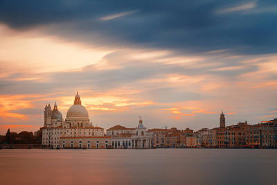 Photograph - Venice Grand Canal Sunset by Songquan Deng