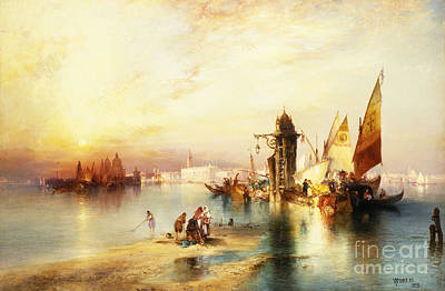 Sunset Painting - Venice by Thomas Moran