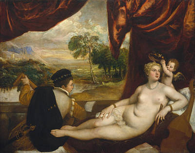 Goddess Painting - Venus And The Lute Player by Titian