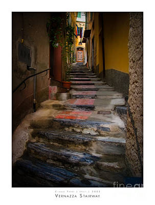 Yellow Door Photograph - Vernazza Stairway by Doug Sturgess