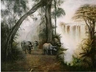 Painting - Victoria Falls by Riek  Jonker