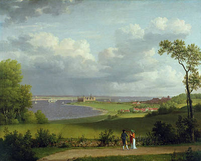 Painting - View North Of Kronborg Castle by Christoffer Wilhelm Eckersberg
