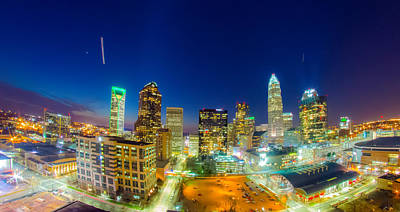 Photograph - View Of Charlotte Skyline Aerial At Sunset by Alex Grichenko