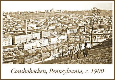 Photograph - View Of Conshohocken, Pennsylvania, C. 1900, Vintage Photograph by A Gurmankin