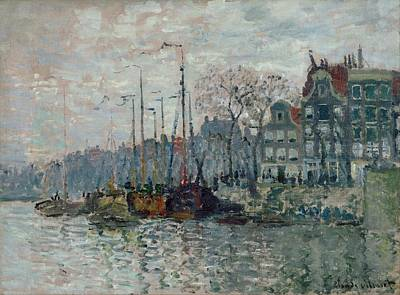 French Village Painting - View Of The Prins Hendrikkade And The Kromme Waal In Amsterdam by Claude Monet