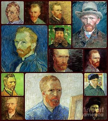 Impresionist Painting - Vincent Van Gogh Self Portrait Collage by Celestial Images