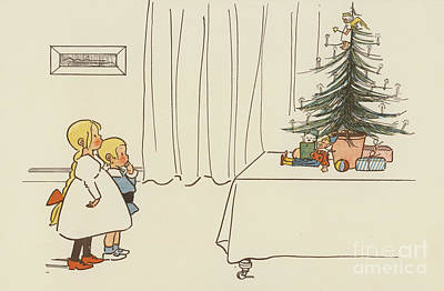 Vintage Christmas Card Art Print by German School